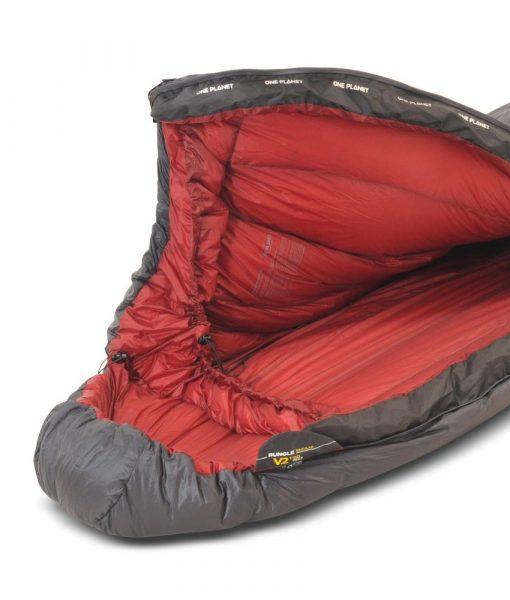 ONE PLANET bungle sleeping bag detail hood open
