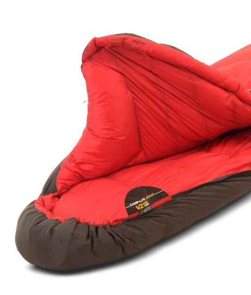 ONE PLANET camplite sleeping bag hood open detail