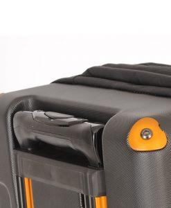 Wheeled travel luggage detail